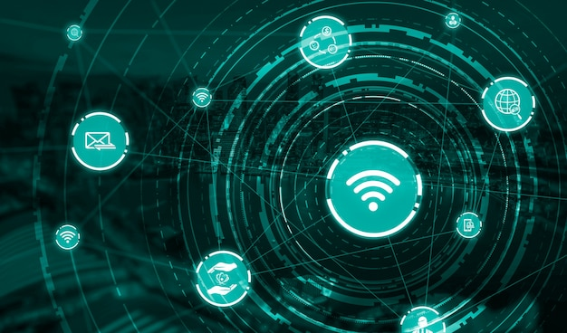 La moderna comunicazione creativa e la rete internet si connettono in una città intelligente