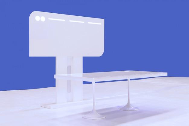 La moderna scrivania da lavoro e monitor da esposizione