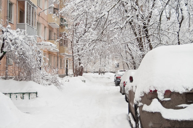 La nevicata più forte. automobili coperte di neve nel cortile.