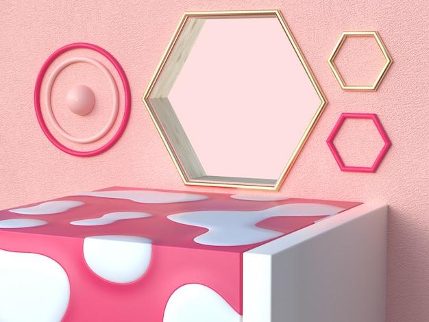 La parete 3d del foro di esagono di forma del quadrato bianco rosa rende la scena astratta