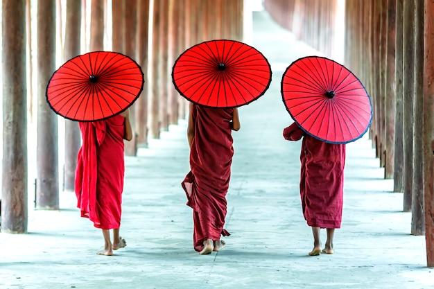 La parte posteriore di tre novizi buddisti sta camminando in pagoda, myanmar