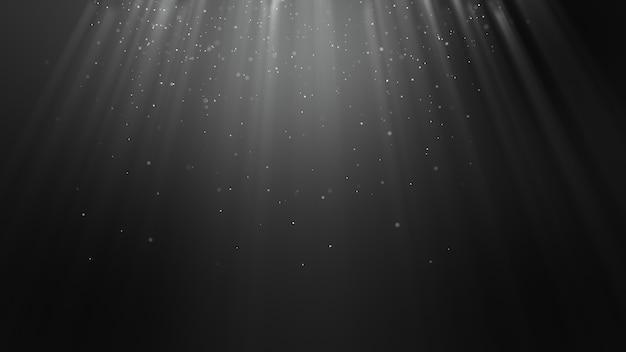 La particella nera bianca chiara scura forma il fondo astratto con le particelle di raggio del fascio di luce che cadono e tremolano rendering 3d.