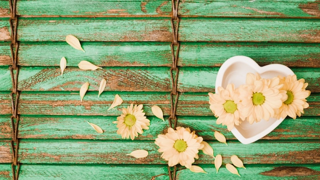 La pesca ha colorato i fiori e la ciotola di forma del cuore sul fondo di legno dell'otturatore
