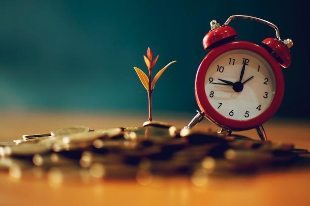 La pianta crescente dei soldi fa un passo con la moneta del deposito nelle monete di risparmio - concetto di investimento e di interesse
