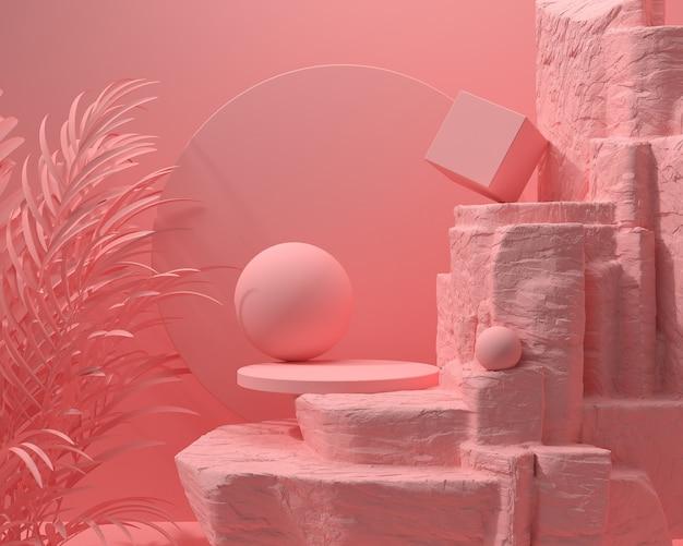 La pietra geometrica di colore rosa astratto e la roccia modellano, l'esposizione minimalista del podio o la vetrina, la rappresentazione 3d.