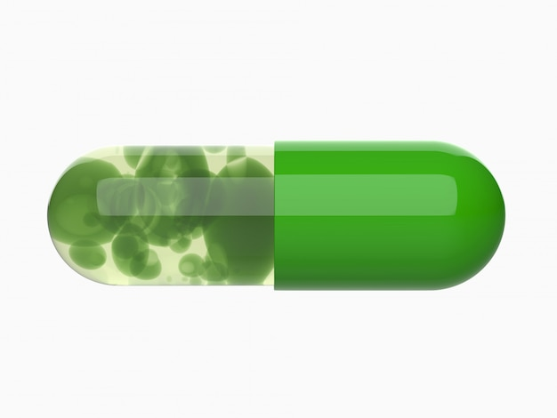 La pillola verde della capsula, medico, medicina 3d rende