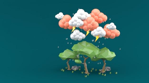 La pioggia cade sul grande albero su verde. rendering 3d