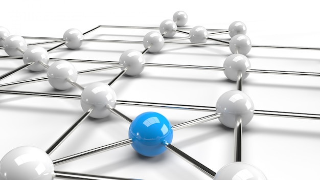 La progettazione astratta del collegamento di progettazione rappresentazione blu e bianca della struttura di rete della sfera 3d.