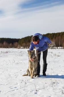La ragazza e il lupo grigio giocano insieme in un campo innevato e soleggiato in inverno