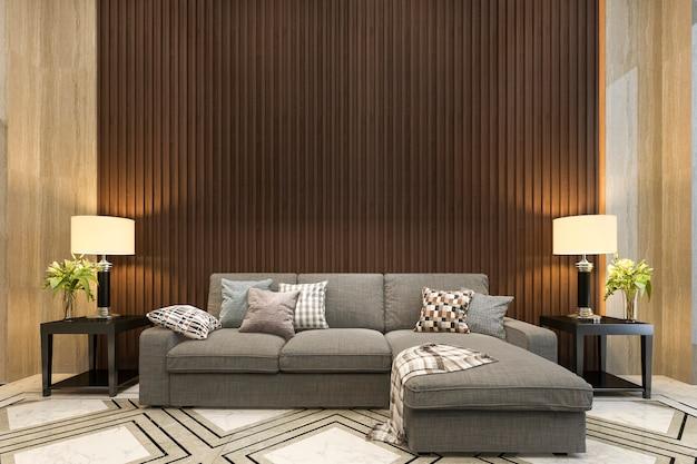 La rappresentazione 3d deride sulla decorazione di legno in salone con stile classico del sofà