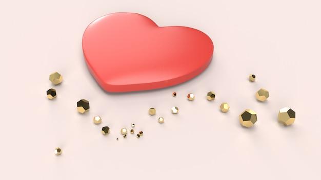 La rappresentazione del cuore rosso 3d per il giorno di biglietti di s. valentino.