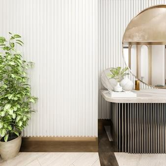 La rappresentazione della stanza bianca classica 3d con compone la tavola con lo specchio dorato