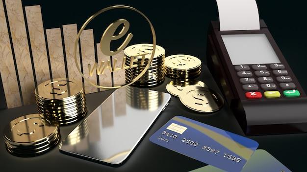 La rappresentazione mobile del portafoglio e delle monete di oro di simbolo e 3d per il concetto di affari di e.