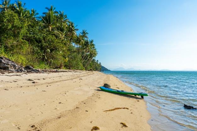 La riva di un'isola tropicale. spiaggia sull'oceano.