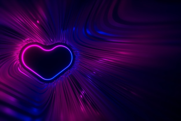La sagoma di un cuore al neon luminoso sullo sfondo di strisce lucenti