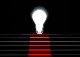 La scala va alla lampadina del buco della serratura della porta. concetto di successo aziendale.
