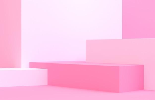 La scena con il fondo astratto minimo 3d delle forme geometriche rende