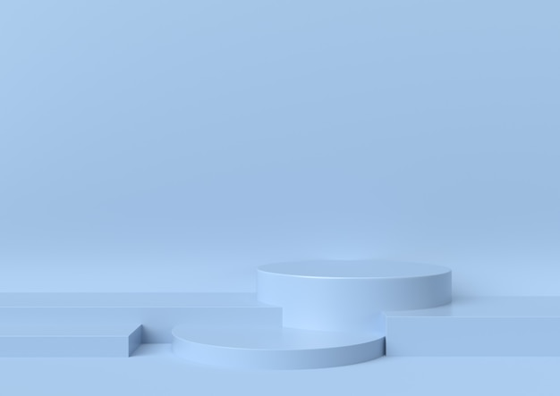 La scena del podio della fase per la vetrina su fondo blu, 3d rende.