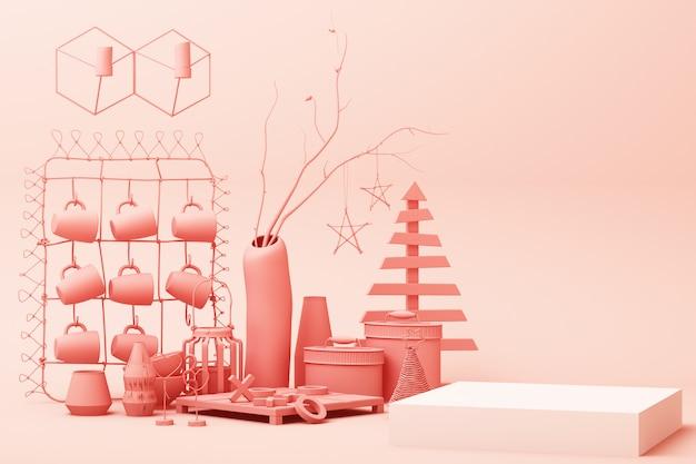 La scena geometrica astratta di colore di rosa pastello di forma minima con la decorazione e il puntello, la progettazione per il podio 3d dell'esposizione del prodotto o del cosmetico rendono