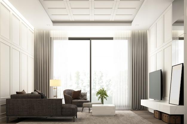 La scenografia di immagine degli interni dell'area vivente di lusso moderna con la decorazione classica della parete del dettaglio dell'elemento e la mobilia hanno messo la rappresentazione 3d