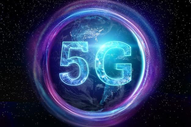 La scritta 5g sullo sfondo del globo