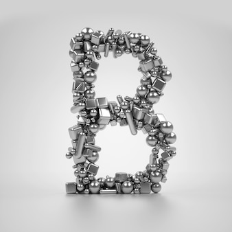 La serie di 3d rende la lettera maiuscola in metallo b su sfondo bianco basato su particelle che si basano su diverse forme semplici come il cubo e il cono del cilindro sfera come forme diverse di pillole mediche