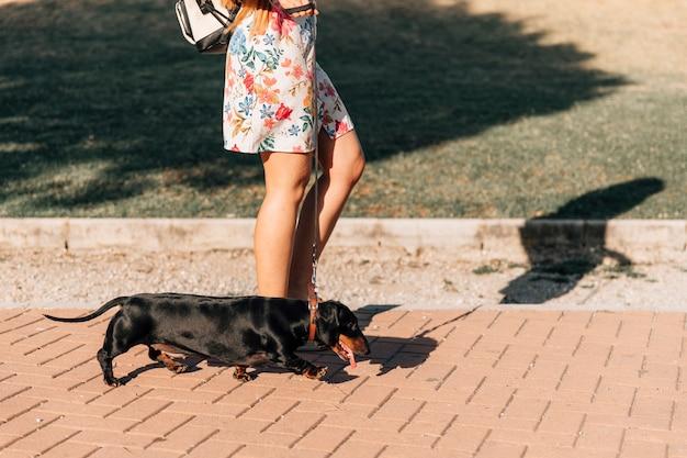 La sezione bassa di una donna con lei cammina sul marciapiede nel parco