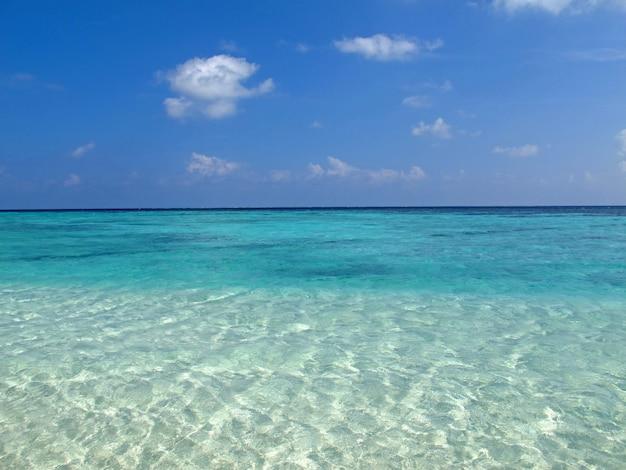 La spiaggia delle maldive, l'oceano indiano, l'atollo di ari nord