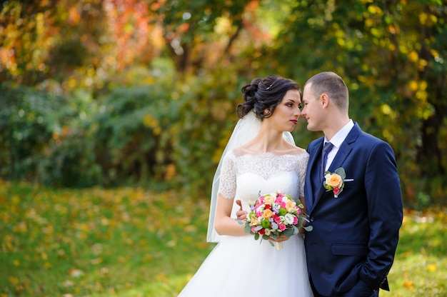 La sposa e lo sposo sullo sfondo del parco in autunno