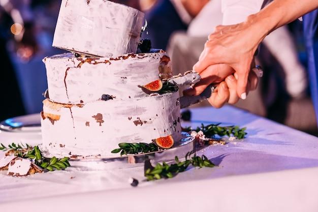 La sposa e lo sposo tagliano la torta nunziale rustica