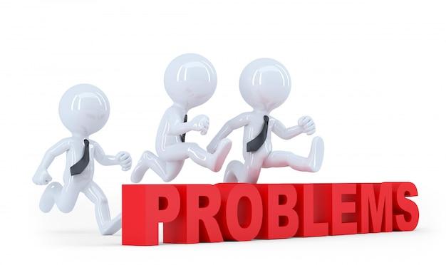 La squadra di affari che salta sopra un ostacolo ostacola i problemi. isolato