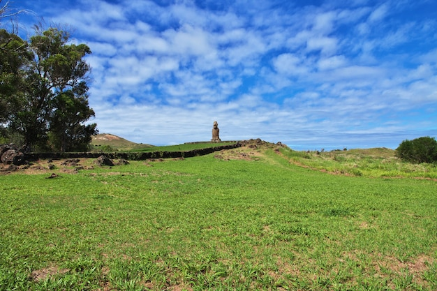 La statua moai in ahu huri a urenga sull'isola di pasqua, cile