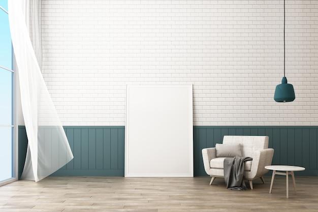 La struttura del manifesto con decora il muro di mattoni e la poltrona in stile scandinavo 3d rendering