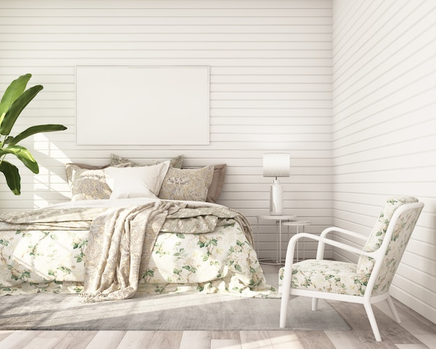 La struttura del manifesto del modello nello stile classico moderno della camera da letto con la parete di legno bianca 3d rende
