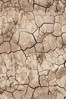 La superficie del suolo è secca e incrinata