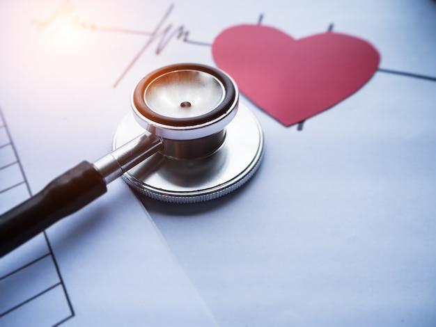 La testa del primo piano dello stetoscopio ha messo sopra il disegno di frequenza cardiaca con il taglio della carta del cuore rosso