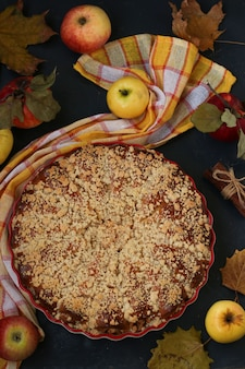 La torta con le mele si trova in una forma ceramica su uno sfondo scuro, vista dall'alto, orientamento verticale