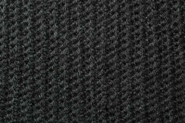La trama di lana lavorata a maglia nera può essere utilizzata come sfondo.