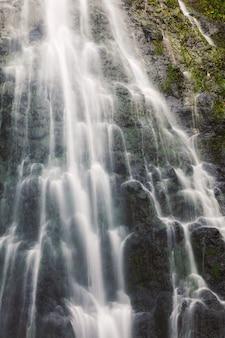 La vista del primo piano di hamama cade sull'isola di oahu, hawai
