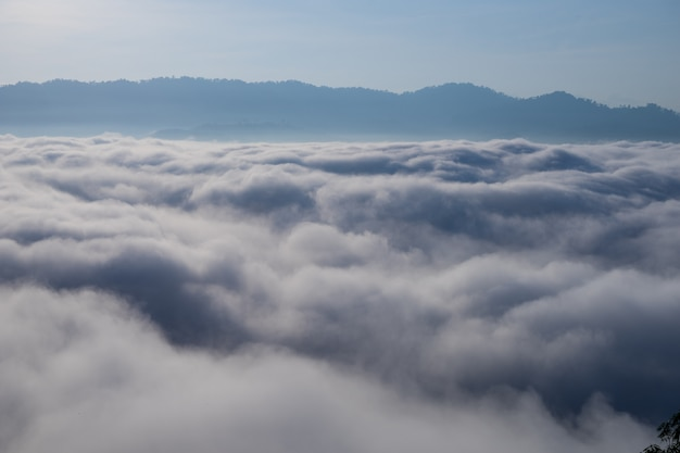 La vista della nebbia ha riguardato la montagna nel distretto di aiyoeweng, tailandia del sud, con gli alberi.