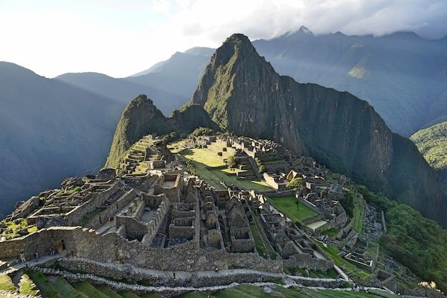 La vista di machupicchu, le antiche rovine inca.