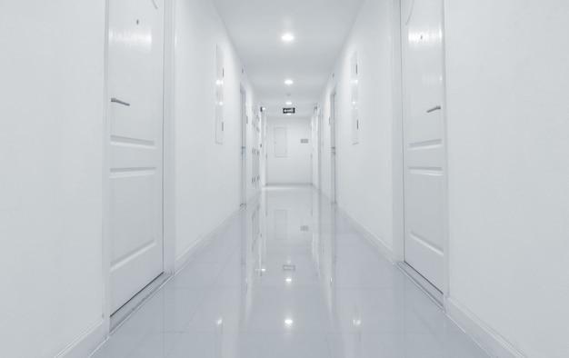 La vista di via delle mattonelle di marmo ha strutturato il fondo, interno del tono in bianco e nero della costruzione