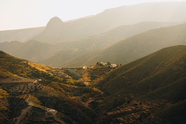 La vista mozzafiato pf l'albero ha coperto le montagne catturate a tempo il giorno in andalusia, spagna
