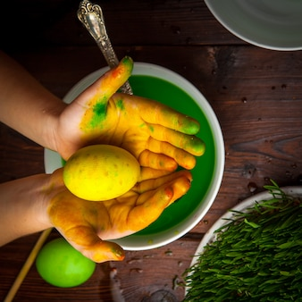 La vista superiore ha colorato le uova con il semeni e l'acqua e la mano umana in piatto bianco
