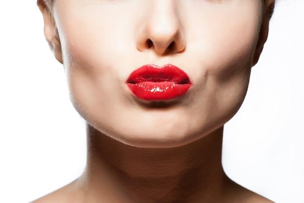 Labbra sexy beauty red lip makeup detail.