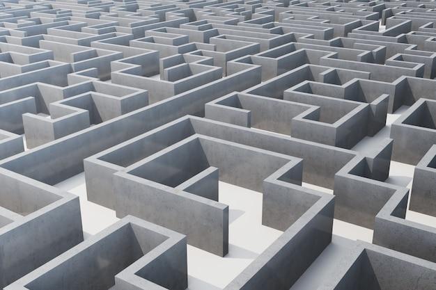 Labirinto cocrete dell'illustrazione, concetto complesso di soluzione dei problemi