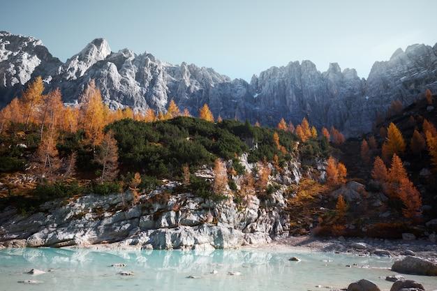 Lago alla base di una bella montagna coperta di alberi