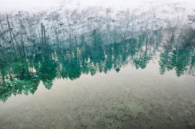 Lago con ghiaccio che riflette montagne innevate