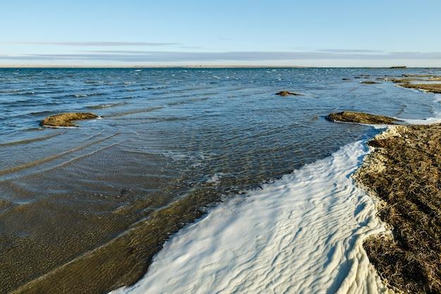 Lago kamyslybas o kamyshlybash, grande lago di acqua salata nella regione di kyzylorda, kazakistan. schiuma e alghe sulla riva