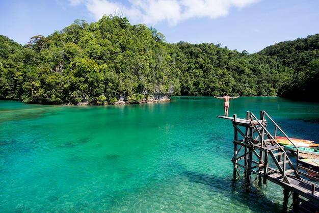 Laguna di sugba a siargao, nelle filippine